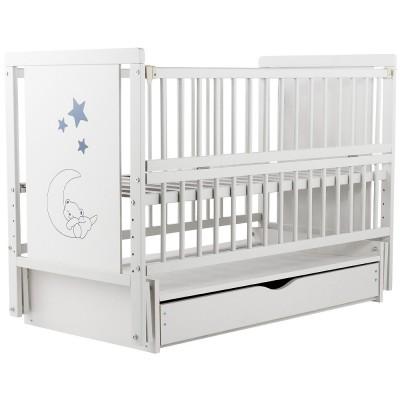 """Кровать Babyroom """"Медвежонок"""" M-03 маятник, ящик, откидной бок, бук белый"""