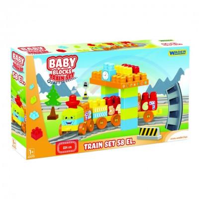 "Конструктор ""Baby Blocks"" Мои первые кубики - железная дорога 2,24м - 58 шт. Wader"
