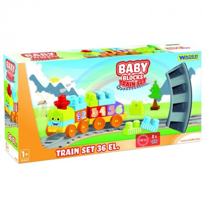 "Конструктор ""Baby Blocks"" Мои первые кубики - железная дорога 1,45м - 36 шт. Wader"