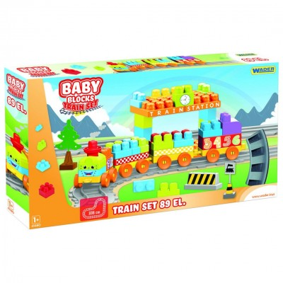 "Конструктор ""Baby Blocks"" Мои первые кубики - железная дорога 3,35м - 89 шт. Wader"