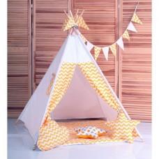 Вигвам Зигзаг желтый Детская игровая палатка, домик