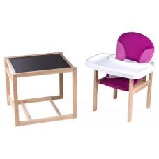 Стульчик- трансформер Babyroom Пони-230 без лака пластиковая столешница капучино-шоколад,малина-розовый